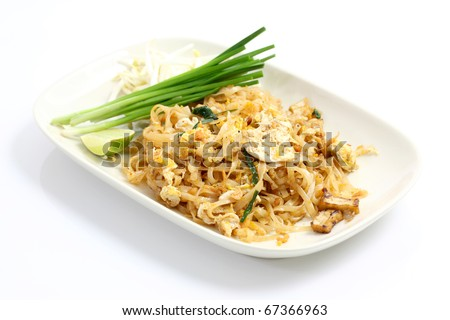 Thai food Pad thai , Stir fry noodles with shrimp in padthai style isolate white background - stock photo