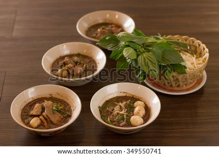 Thai food ready serve on wood table.