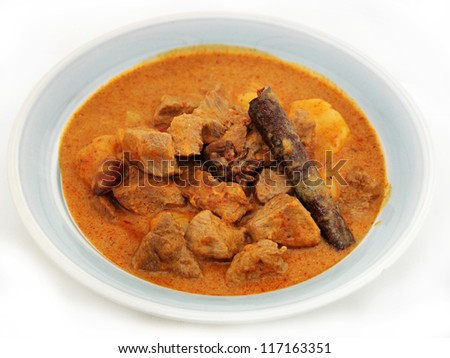 Thai Food Red Curry beef - stock photo