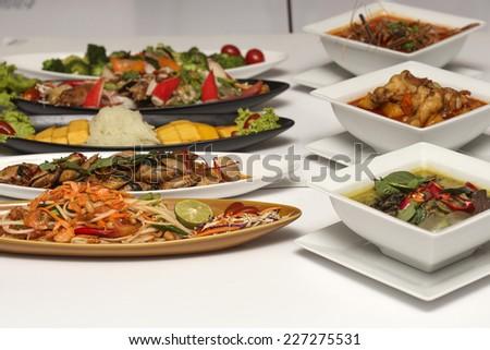 Thai Food set mixed full on the table  - stock photo