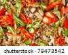 Thai food, Stir-fried chicken  with ginger, tree ear mushroom and cayenne peppers - stock photo
