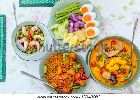 Thai food / THAI CHILI DIPPING SAUCE / Roasted duck curry / Eggs fried catfish spicy ginger - stock photo