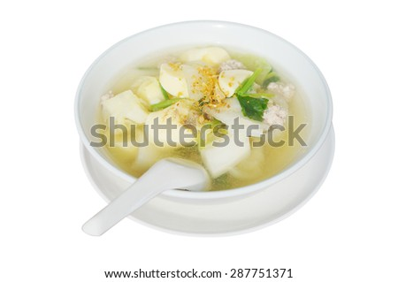 Thai food, tofu soup with vegetables and pork isolated on white background. - stock photo