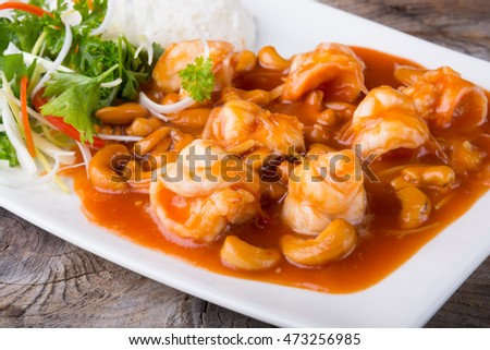 Thai food with shrimps and cashew nuts