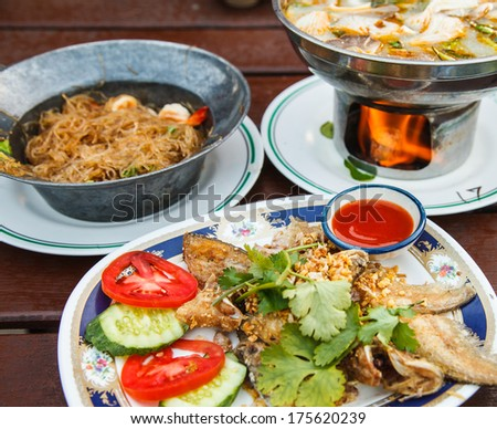 Thai foods with fish shrimp for meal time