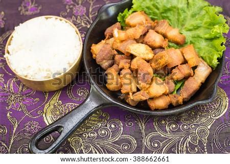 Thai fried crispy pork - stock photo