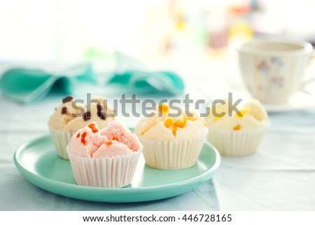 Thai fruity fluffy cupcake for snack