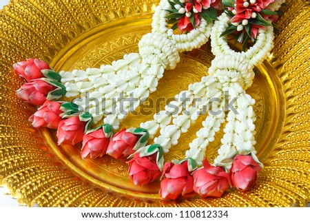 Thai garland, for Thai wedding ceremony put on gold tray