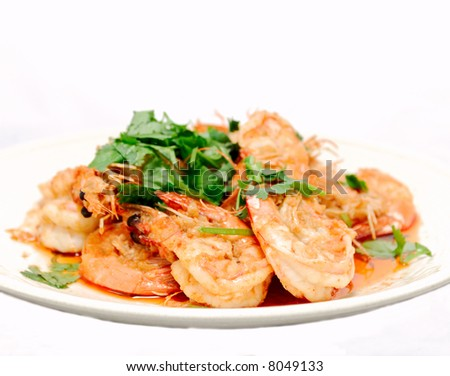 Thai Garlic Prawns - stock photo
