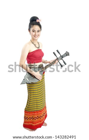Thai girl dressing and guitar with traditional style, Isolated on white - stock photo