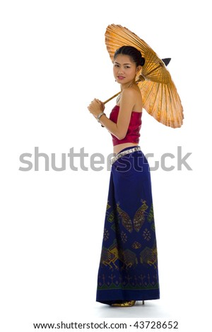 thai girl in traditional isaan style clothes with umbrella, isolated on white - stock photo