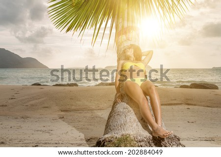 Thai girl on the beach leaning on a coconut tree - stock photo