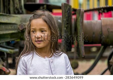thai girl with train buffer - stock photo