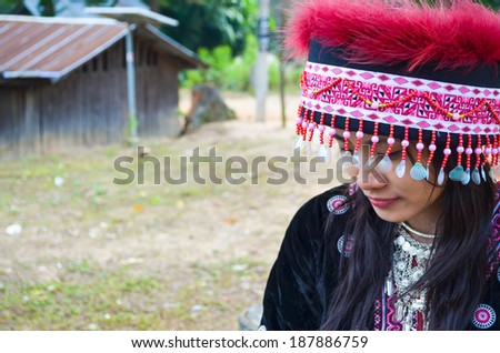 Thai girls in ethnic dress - stock photo