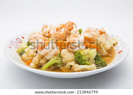 Thai healthy food stir-fried broccoli, carrot and shrimp - stock photo