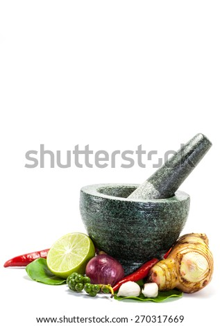Thai herb ingredient, spicy food isolated on white background - stock photo