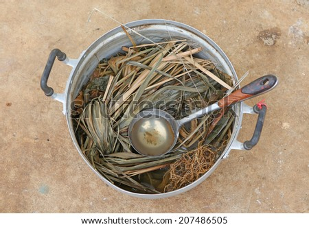 Thai herbal medicine boiled in a pot - stock photo