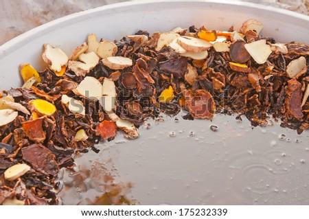 Thai herbal medicine  boiled in big pot - stock photo