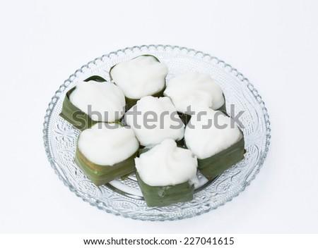 Thai jelly with coconut cream - stock photo