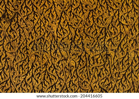 """Thai Lacquer Works in Thailand Buddha temple,which in Thai is called """"Lai Rod Nam"""" - stock photo"""
