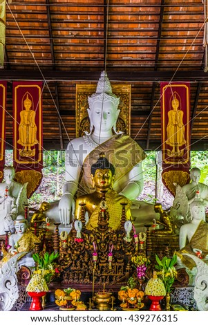 Thai Lanna Buddha at Pha Lat Temple, Thailand. - stock photo