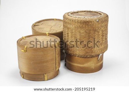 thai laos bamboo sticky rice container on a white background