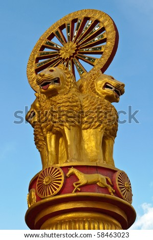 thai lion statue in temple of thailand - stock photo