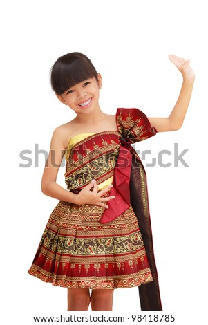 Thai little girl dancing with thai style, Isolated on white - stock photo