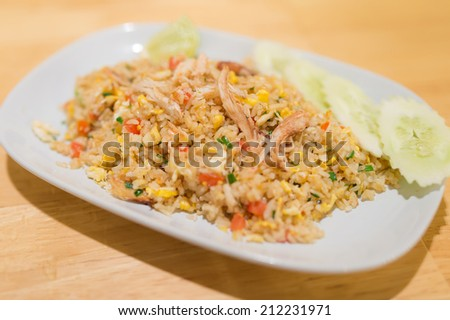 Thai local food, fried rice with crab - stock photo