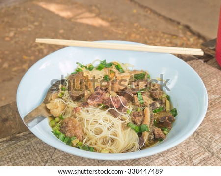 Thai local style stewed pork rice noodle - stock photo