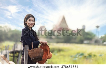 Thai local woman working - stock photo