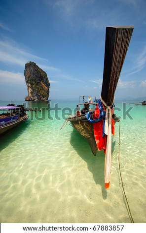 Thai long tail boat, Thai beach - stock photo