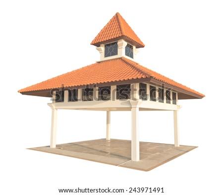 Thai modern style pavilion isolated on white background - stock photo