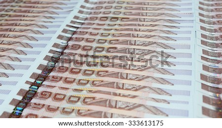 thai money banknotes closeup background  - stock photo