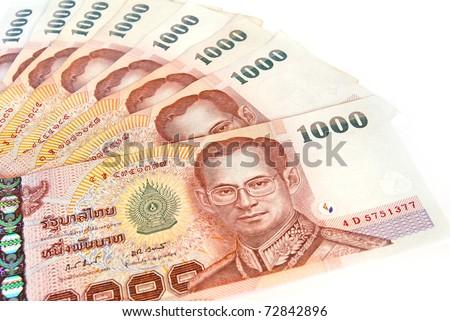 thai money banknotes  isolated on white background - stock photo
