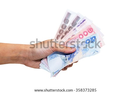 Thai Money in hand