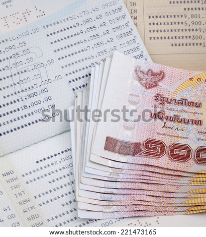 Thai money on two Saving Account Passbook