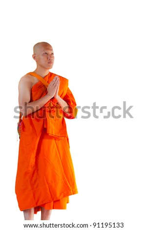 Thai monk isolated on white with clipping path - stock photo