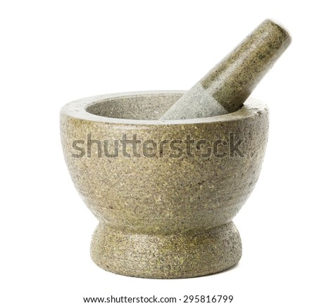 Thai mortar and pestle. Isolated on white background - stock photo