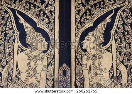 thai mural door - stock photo