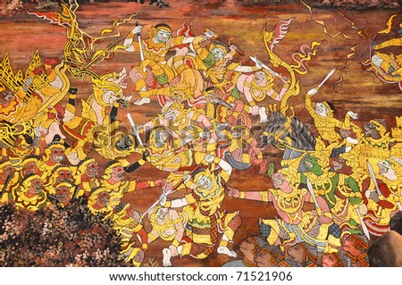 Thai mural in Prakeaw temple, Bangkok, Thailand. It is a part of Ramayana story. This mural is public domain, And Prakeaw temple is opened and allow for visiting tourists. - stock photo