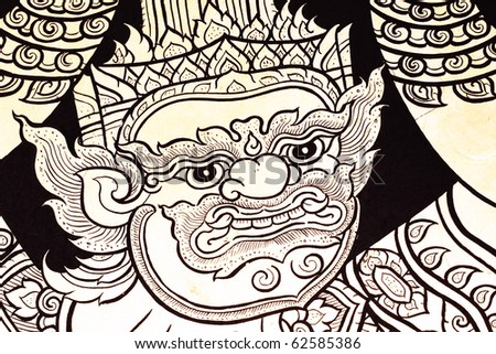 Thai Mural On A Wall Of Temple - stock photo