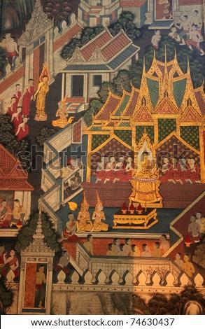 Thai Mural Painting in sanctuary, Wat Pho Temple, Bangkok, Thailand - stock photo