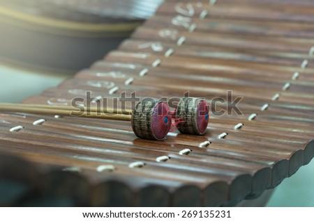 Thai musical instrument (Alto xylophone),asian instrument - stock photo