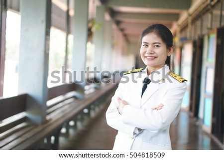 Thai officer wearing formal uniform