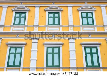 Thai old-style windows in Bangkok - stock photo