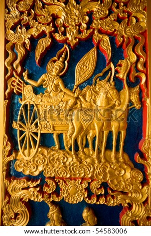 Thai Painting on a door of buddhist church at Rayong Thailand - stock photo