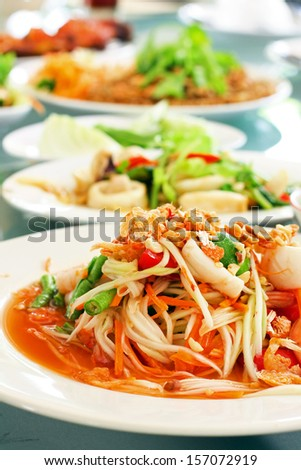 Thai papaya spicy salad or know as Som Tum - stock photo