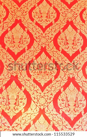 Thai pattern on wall of temple. - stock photo