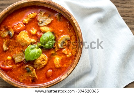 Thai red chicken curry - stock photo